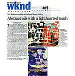 "Donohoe, Victoria. ""Abstract oils with a lighthearted touch..."", The Phila Inquirer, 3/5/10"