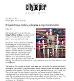 "Rice, Robin. ""Bridgette Mayer Gallery undergoes a major transformation,"" Phila Citypaper, 11/10/11."