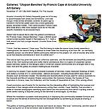 """Newhall. Edith. """"Galleries: 'Utopian Benches' by Francis Cape at Arcadia University,"""" The Phila Inquirer, 11/27/11."""
