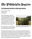 "Newhall, Edith. ""Juxtaposed Photos Altering Nature,"" The Philadelphia Inquirer, 3/22/09."