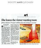 "Donohoe, Victoria. ""She Leaves the Viewer...,"" The Phila Inquirer, 9/9/09."